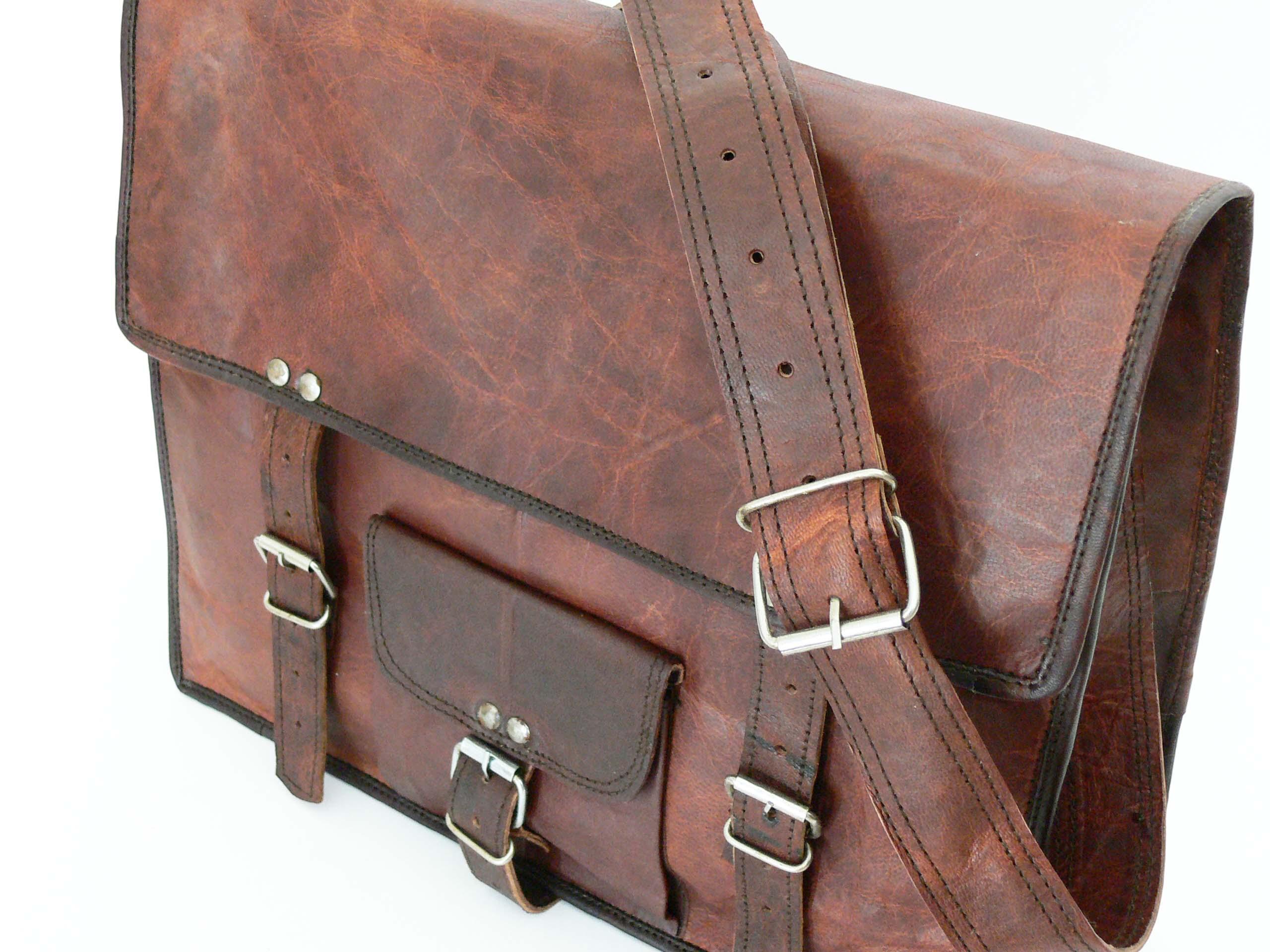 unitasche laptoptasche ledertasche herren damen braun vintage echtes leder braun ebay. Black Bedroom Furniture Sets. Home Design Ideas